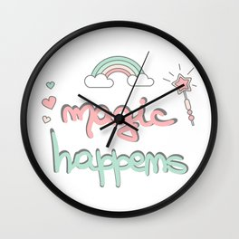 cute hand drawn lettering magic happens with magic wand, rainbow and hearts Wall Clock