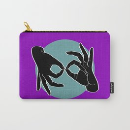 Sign Language (ASL) Interpreter – Black on Turquoise 06 Carry-All Pouch