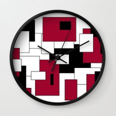 Squares - purple, black and white. Wall Clock