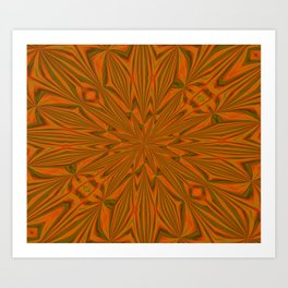 Autumnal Leaves Red Green and Amber Abstract Kaleidoscope Art Print