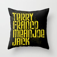 steelers Throw Pillows featuring Terry Franco Mean Joe Jack / Black by Brian Walker