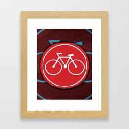 Red Bicycle Icon Framed Art Print