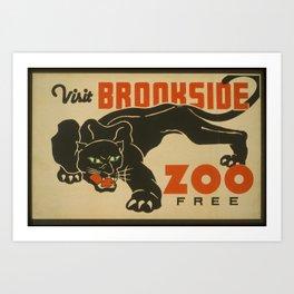 Vintage American WPA Poster - Visit Brookside Zoo Free, Cleveland Ohio (1937) Art Print