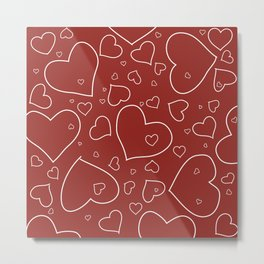 Red and White Hand Drawn Hearts Pattern Metal Print