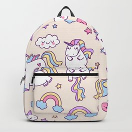 Cute unicorn pattern with heart and rainbow. Magic and fairy tale collection. Backpack