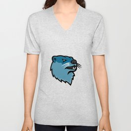 River Otter Head Mascot Unisex V-Neck