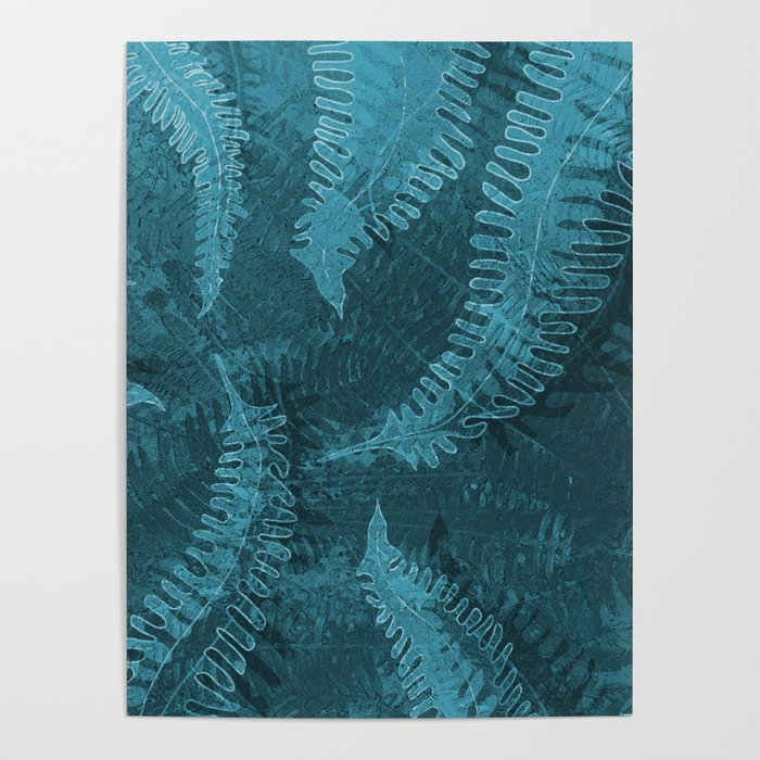 Ferns (light) abstract design Poster