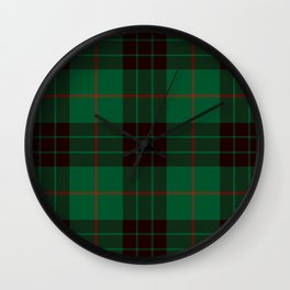 Dark Green Tartan with Black and Red Stripes Wall Clock