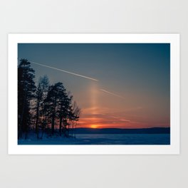 Flying at sunset Art Print