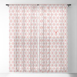 Triangular Grid ~ coral red Sheer Curtain