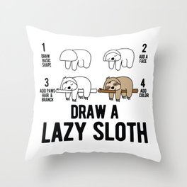 Draw a lazy Sloth fun animal step by step painting Throw Pillow