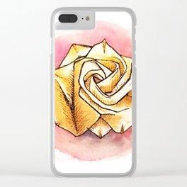 Gold origami rose Clear iPhone Case