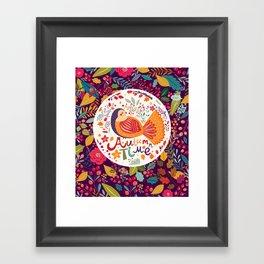Bird in autumn forest Framed Art Print