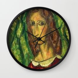Girl in a Red Dress by Alfred Henry Maurer Wall Clock