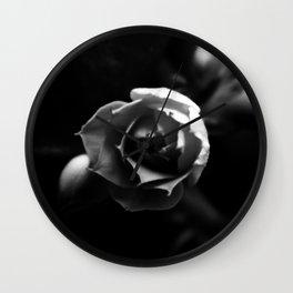 Black and White Kalanchoe Bud Wall Clock