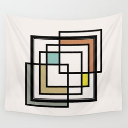 Mid Century Modern Squares Wall Tapestry