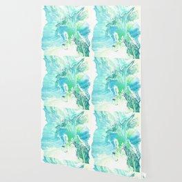Breathe Blue Abstract Print Wallpaper