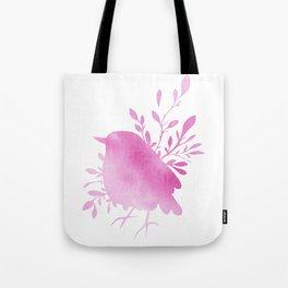 Pink Watercolor Bird Tote Bag
