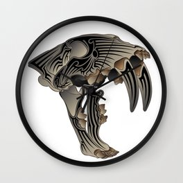 Ancient Warrior (Sabertooth Skull) Wall Clock