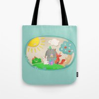 happy birthday Tote Bags featuring happy birthday by Lidija Paradinović Nagulov - Celandine