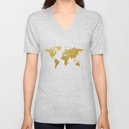 World Map Gold Foil Unisex V-Neck
