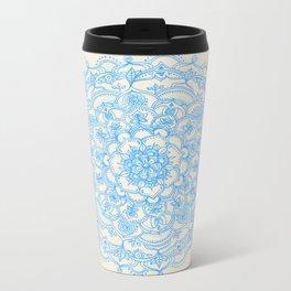 Pale Blue Pencil Pattern - hand drawn lace mandala Metal Travel Mug