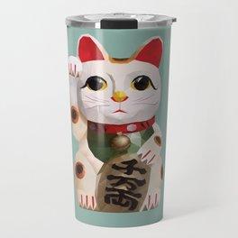 Maneki Neko (Fortune Cat) Polygon Art Travel Mug