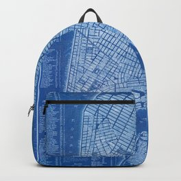 New York antique map, blue old maps, usa maps Backpack