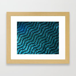 Blue Glitter With Black Squiggle Pattern Framed Art Print