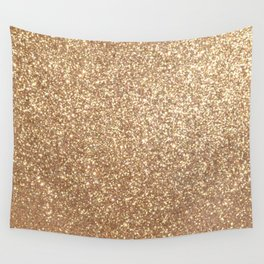 Copper Rose Gold Metallic Glitter Wall Tapestry