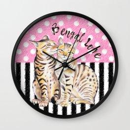 Bengal Cats Love Polka Dot Pink Stripes Wall Clock