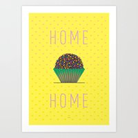 home sweet home Art Prints featuring HOME by Analu Louise