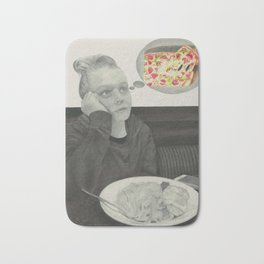 I crave pizza wall art, Black and White, Pencil drawing, Fine art prints, Prints illustrations Bath Mat