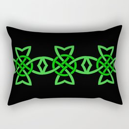 Abstract Bright Green Irish Symbol Celtic Knot on Black Rectangular Pillow