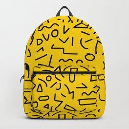 Hand Draw Black Yellow Geometric Memphis Pattern 80s 90s Backpack