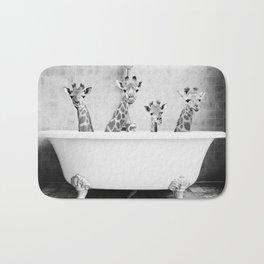 Four Giraffes in a Bath (bw) Bath Mat