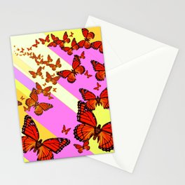 Sun Light Beams Butterflies Migrating Pink-yellow Stationery Cards