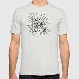 LOVE & LIGHTS & LATKES & LAUGHTER Hanukkah ampersand design T-shirt