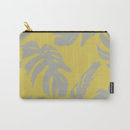 Palm Leaves Retro Gray on Mod Yellow Carry-All Pouch
