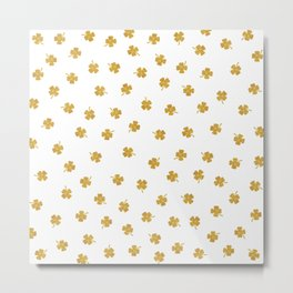 Golden Shamrocks White Background Metal Print