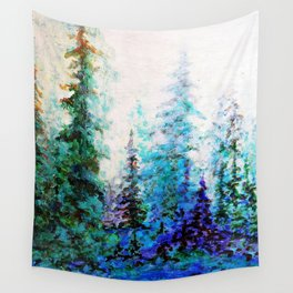 Mountain Landscape Pines In Blue-Greens-Purple Wall Tapestry