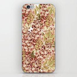 Vintage boho mauve pink dusty green floral iPhone Skin