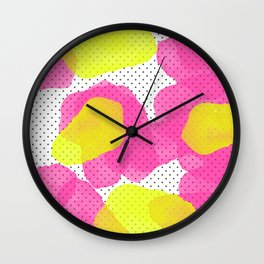 Sarah's Flowers - Abstract Watercolor on Polka Dots Wall Clock