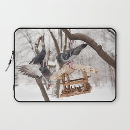 Three hungry pigeons on bird feeder Laptop Sleeve