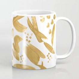 Modern abstract gold strokes paint Coffee Mug