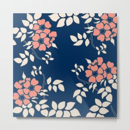 FLORAL IN BLUE AND CORAL Metal Print