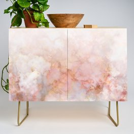 Beautiful Pink and Gold Ombre marble under snow Credenza