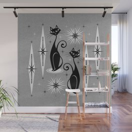 Mid Century Meow Atomic Cats on Cool Gray ©studioxtine Wall Mural