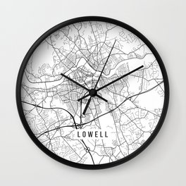 Lowell Map, USA - Black and White Wall Clock