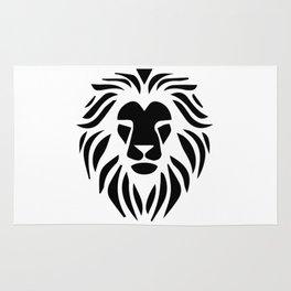 Lion Warrior drawing black T-shirt Rug